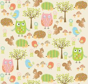 Stoff Riley Blake Owl & Co 112 cm breit Patchwork Meterware Baumwolle Eule Igel