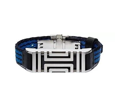 TORY BURCH Sport For Fitbit Striped Grosgrain Bracelet Diving Blue/Silver NWT
