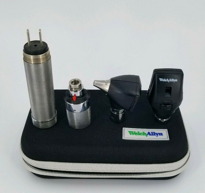 Welch Allyn 3.5v Diagnostic Set Otoscope Ophthalmoscope Plugin Handle - Complete