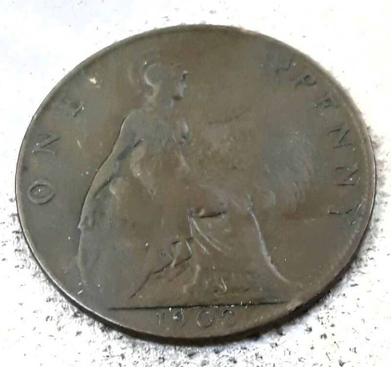 UK Great Britain One Penny 1903 Foreign Coin.