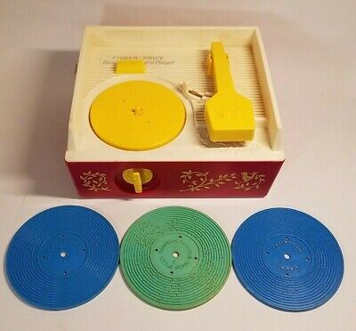 Vintage Fisher Price #995 Music Box Record Player with 3 Records Works 1971
