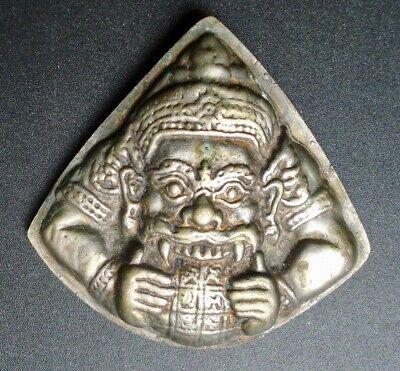 vintage Tibet Buddhist Mahakala (protector of tents, time...) silver amulet
