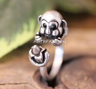 (Little Monkey Ring Animal theme Jewelry Unique Funny Animal Ring Gift Idea)