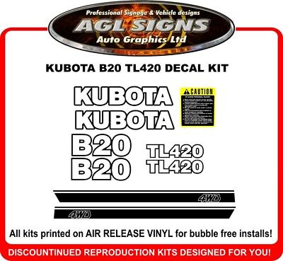Kubota B20 Tl420 4wd Tractor Decal Set Reproductions