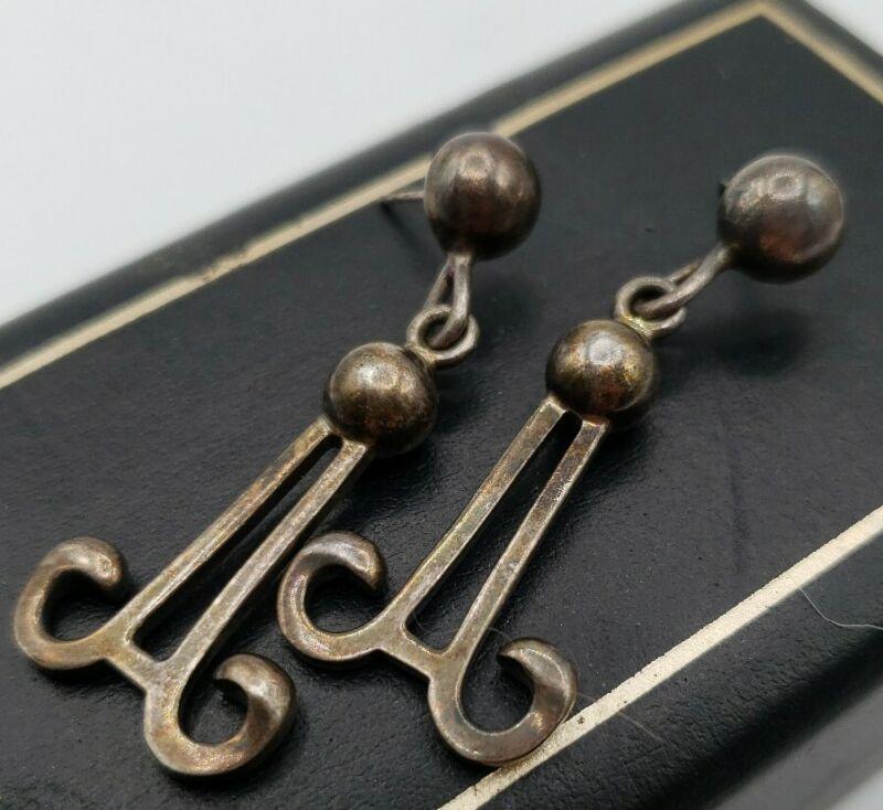 925 ZAC Navajo Pearl Artisan Sterling Silver Mexico Dangle Drop Pierced Earring