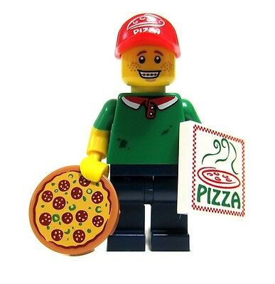 Pizza Guy LEGO SERIES 12 Delivery Box Braces Boy Teen Man Hat Cap 71007 Minifig  (Lego Minifig Box)