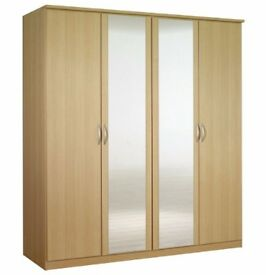 **100% PRICE MATCH!**BRAND NEW Omega Wardrobe 4 Door With Mirrors & Drawer-Express Delivery 50% OFF