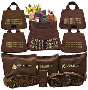 4 Foldable Eco Friendly Reusable Shopping & Grocery Bags in 1 Pouch
