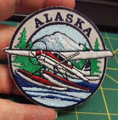New Alaska iron on embroidered patch Alaska Float Plane AK Bush Pilot Plane