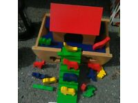 NOAH'S ARK - wooden ark with animalsfor child to fit into shapes in boat