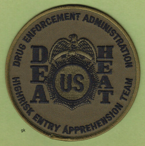 DEA HEAT DRUG HIGHRISK ENFORCEMENT TEAM POLICE SHOULDER PATCH (subdued)