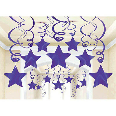 30 Purple Shooting Star Swirl Decorations Graduation,Wedding & Birthday Parties