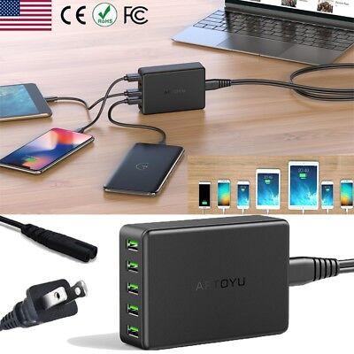 5-Port Smart Charging Station USB Hub Wall Charger Power Ada