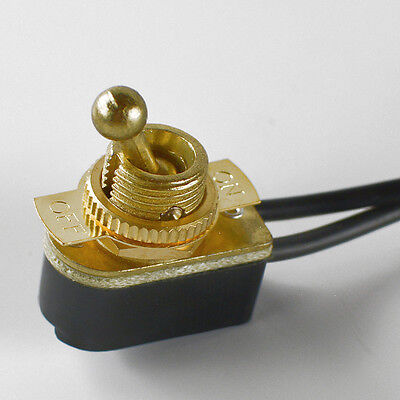 Toggle Switch on/off - Brass Plated - 6A/120V - Steampunk Switch 2-Wire
