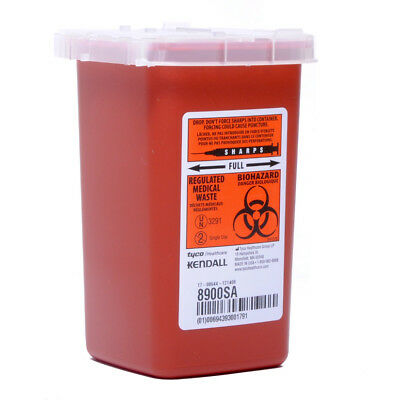 Kendall Sharps Container Biohazard Needle Disposal 1 Qt Size