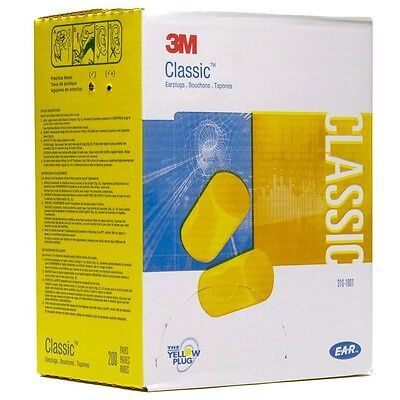 3M- 310-1001 Classic Earplugs  Uncorded 200 Pair Per Box  *Free US Shipping* Business & Industrial