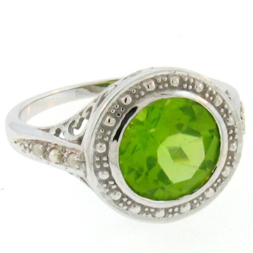 10K WHITE GOLD GENUINE PERIDOT SEED PEARL ANTIQUE DESIGN RING SIZE 8,       #A28