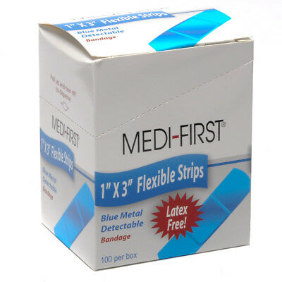 Medique Metal Detectable Blue Cloth Bandages 1X3 100/bx - Metal Detectable Bandage