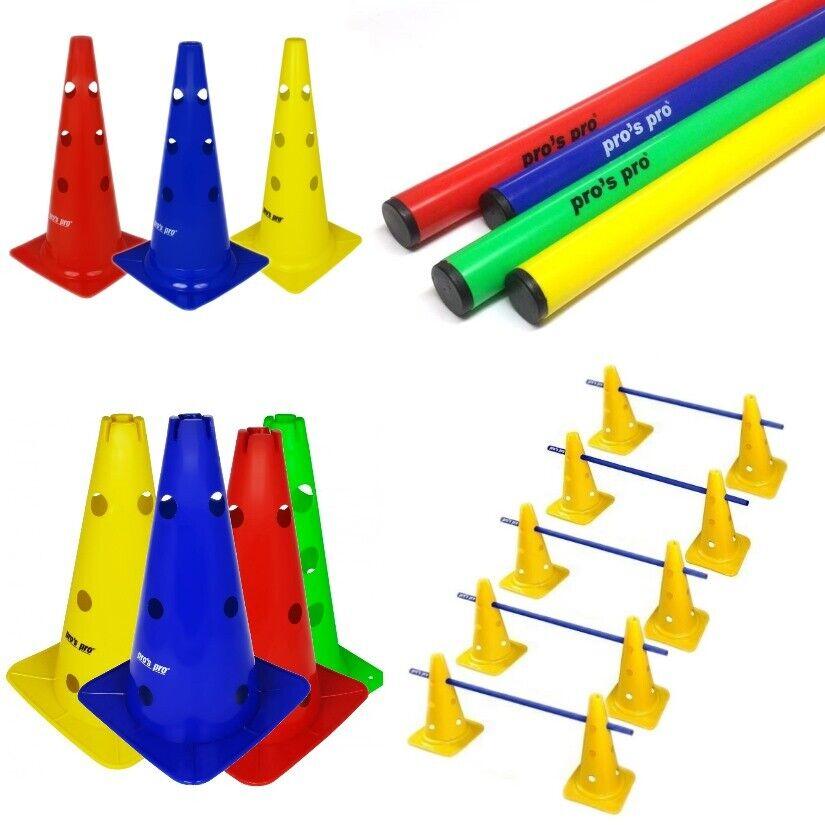 """Auswahl: XL-Kegelhürdensets; 5 Koordinationshürden (10x 15""""-Pylonen 5x1m Stangen"""