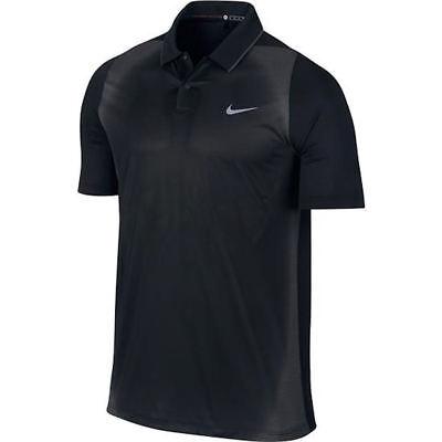 (NIKE GOLF Tiger Woods VL Max Mesh Framing Black Grey S/S Polo Shirt Mens Sz S L)