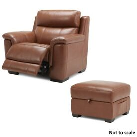 NEW Hadley 1 Seater Electric Recliner Sofa with Storage Footstool | Colour: Brandy