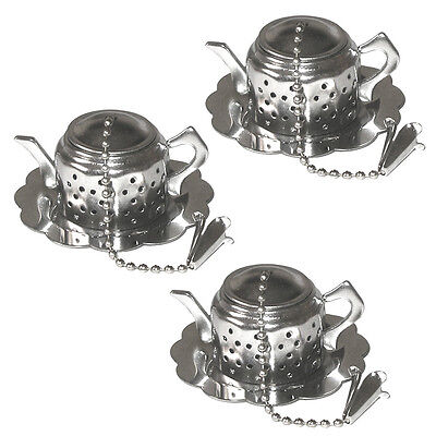 3x Teeei mit Ablage Teesiebe Teekugel Teefilter Teeeisieb Teeeier Teenetz Sieb