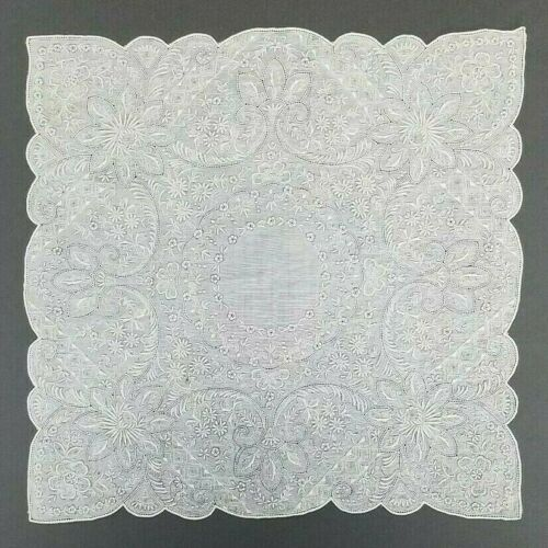 "Elaborate Antique Vintage Hanky Hand Embroidered Wedding Handkerchief 11"" NOS #5"