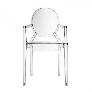 Ghost Arm Chair Transparent Clear Acrylic Philippe Starck Style Louis Armchair