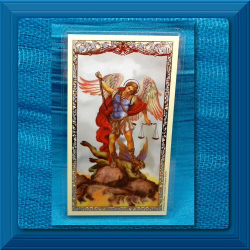 LAMINATED Holy Card GILDED GOLD Prayer to Saint Michael the Archangel DEFEND US