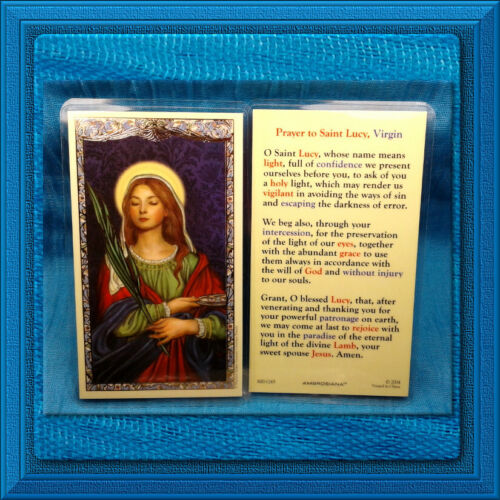 LAMINATED Holy Prayer Card GILDED GOLD ✝️ SAINT LUCY ❤️ BEAUTIFUL New!