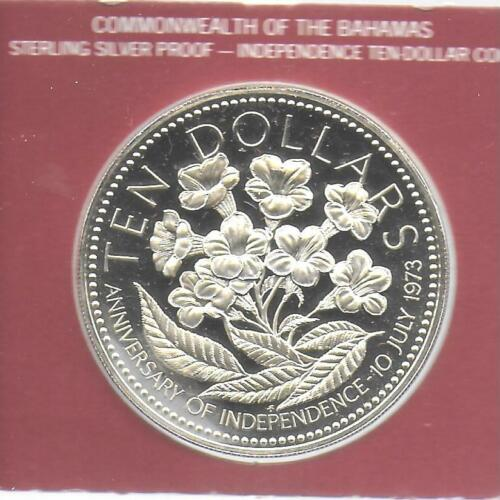 Bahamas 1975 10 Dollars Sterling Silver Coin KM-76a Choice Proof &FM Case W/COA