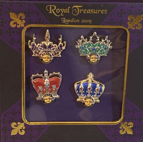Hard Rock Cafe LONDON PICCADILLY CIRCUS 2019 Royal Treasures 4 PIN Boxed Set 600