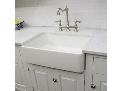 FIRECLAY SMALL WHITE KITCHEN FARMHOUSE SINK   FC2418SU