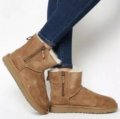 UGG Classic Mini Double Zip Boots 1018849 Chestnut Sz 11 New