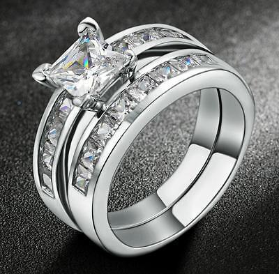 18KGP White Gold Princess Cut AAA CZ Engagement Ring Weding Band Set