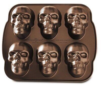 Nordic Ware Haunted Skull Cakelet Pan Bronze Nonstick Bakeware Halloween USA - Skull Cake Pan