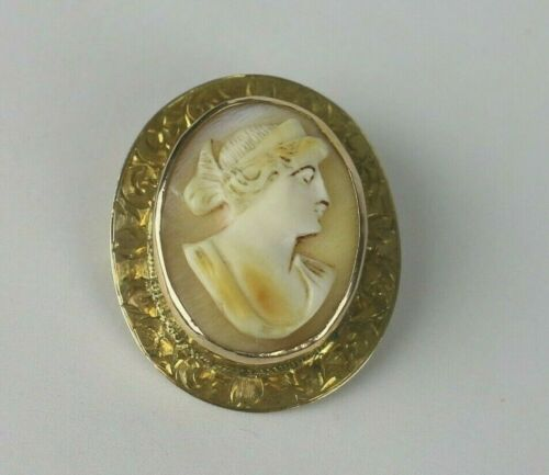 VINTAGE 10K GOLD NATURAL SHELL CAMEO BROOCH / PIN