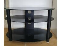 Black Glass Oval TV Stand - free just collect
