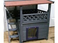 NEW outdoor pet kennel cats/kittens/small dogs enclosed den & covered decking area - waterproof