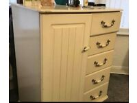 Off White chest of drawers and hanging rail