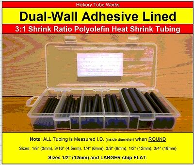 "Dual-Wall 3:1 Adhesive Lined Heat Shrink Tubing 3/4"" 1/2"" 3/8"" 1/4"" 3/16"" 1/8"""