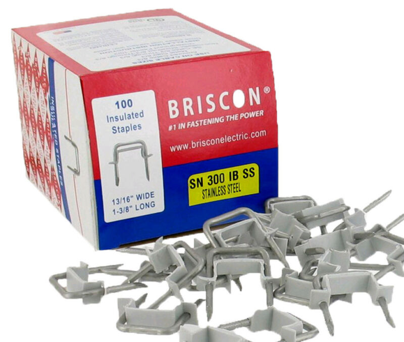 "Box 100 Briscon SN 300 IB SS 302 Stainless Steel Cable Staples 13/16""WX1-3/8 ""L"