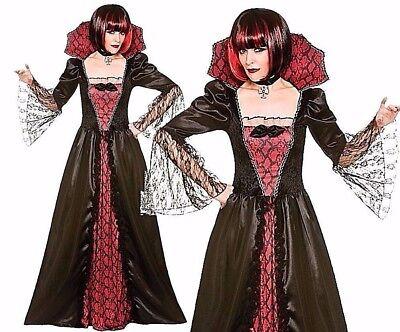 Ladies DELUXE GOTHIC VAMPIRESS Ladies Halloween Fancy Dress Costume UK Size 6-24