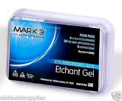 Mark3 Dental Etching E Gel 37 Phosphoric Acid 4 X 1.2 Ml Etch Syringes 20 Tips
