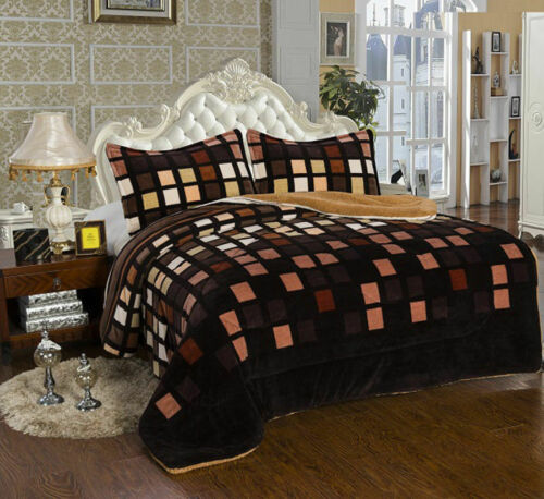 3 Piece Brown Squares King Size Warm Flannel Sherpa Borrego Blanket New Bedding