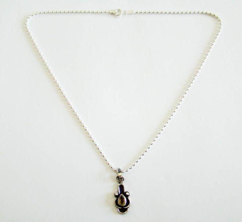 Sterling Silver Genuine Citrine Necklace Pendant 925
