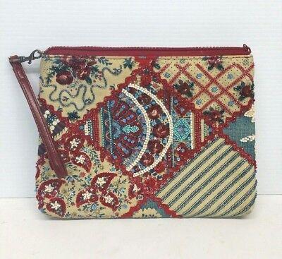 Vintage Women's Isabella Fiore Handbag Beaded Purse Woven Fabric Stylish