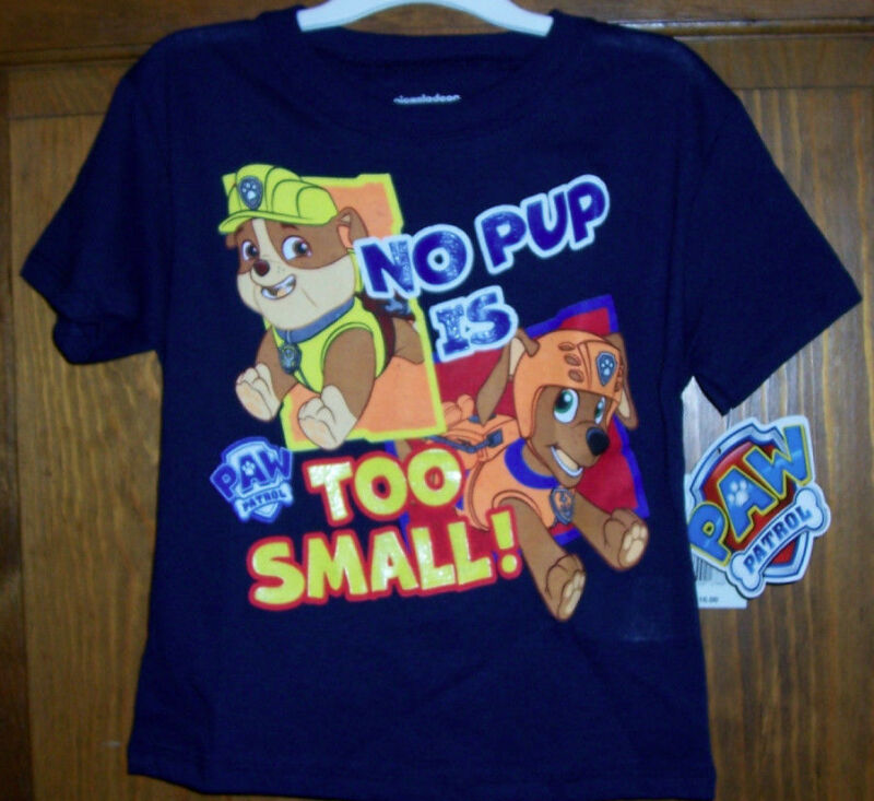 Paw Patrol Rescue Pups Rubble Zuma Puppies T Tee Shirt Toddler Boys Size 4T Navy