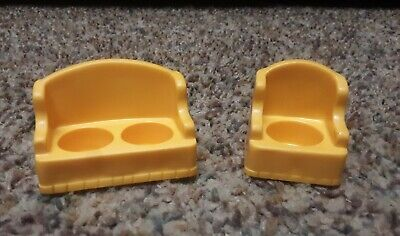VINTAGE FISHER-PRICE LITTLE PEOPLE HOUSE MUSTARD YELLOW SOFA & CHAIR, 2 PC LOT