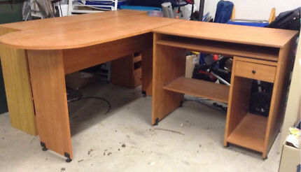Large L shaped veneer desk with hutch in beech, perfect for studying!  Ellis Lane Camden Area Preview